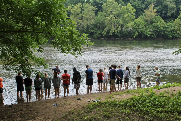 Gathering for worship at the edge of the New River